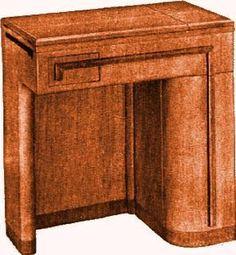 Vintage Singer Sewing Machine Art Deco Cabinet fits 301, 201, 306 ...