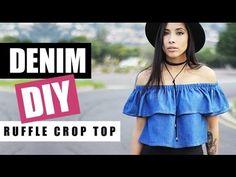 DIY: How To Make A Denim Off The Shoulder Ruffle Crop Top | Raylene Harvey - YouTube