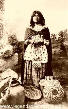 Apache woman and basket work, 1908, via Flickr.