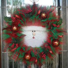 Sneaky Santa Christmas Wreath. $65.00, via Etsy.