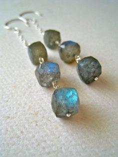astronomy earrings - labradorite dangle earrings, wire wrapped, geometric cube, silver, organic, handmade jewelry, fashion, under 75 via Etsy