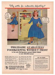 """Vintage and original 1960 Frigidaire refrigerator magazine paper print ad from. Ad shows a yellow refrigerator. Reads, """"Why settle for automatic defrosting? Frigidaire Guarantees Foodkeeping Without F"""
