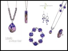 Lobelia on African Violet by Sheri Dixon. American Made. See the designer's work at the 2015 American Made Show, Washington DC. January 16-19, 2015. americanmadeshow.com #jewelry, #necklace, #earrings, #bracelet, #americanmade, #violet, #ring, #purple