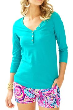 The Palmetto Top comes from your favorite Palmetto V-neck Dress. We kept the V-Neck for you, but made it into a top that will pair flawlessly with your beloved printed shorts.   Palmetto V-Neck T-Shirt by Lilly Pulitzer. Clothing - Tops - Casual Sandestin Golf and Beach Resort, Florida