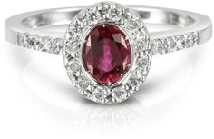 Forzieri  Ruby and Diamond 18K White Gold Ring