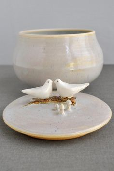 Love Birds ceramic keepsake box from Lee Wolfe Pottery now in stock full-time-etsy-crafters