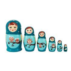 {Nesting Doll Owl Blue 6Pc} Babushka - so cute!