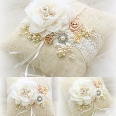 Ring Bearer Pillow, Bridal, Wedding, Ivory, Tan and Champagne with Linen, Lace, Pearls and Crystals, shabby Chic, Rustic, Vintage Wedding