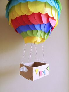 Rainbow Hot Air Balloon Paper Lantern 10 inch for by CreateItGirl