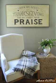 Dear Lillie Enter his gates with Thanksgiving and his courts with Praise oversized handmade wood sign. Thanksgiving Signs, Dear Lillie, Christian Wall Art, Oversized Chair, Traditional Decor, Handmade Wooden, Wooden Signs, Modern Decor, Chairs