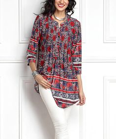 Another great find on #zulily! Gray Floral Notch Neck Pin Tuck Tunic #zulilyfinds