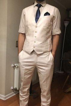 a909666d83 Marfil trajes de lino de playa trajes de boda para hombres a medida traje  de lino de novio esmoquin la opción Ideal para verano caliente de la boda