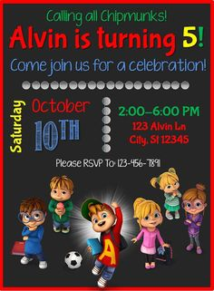 Alvin And The Chipmunks Customizable Birthday Invitation