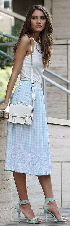Ouii District Light Blue Check Midi Skirt