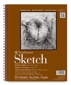 """Sketch pad - I recommend a decent quality, spiral bound, 9""""x12"""" or larger pad to sketch in. The paper is thinner than drawing paper so you can practice without the anxiety of using """"good"""" paper. And it can serve as a diary to show your progress and style. With spiral bound you can also flip to a clean page and draw on a nice flat surface ... instead of bending papers over or having them come loose from a glue bound pad."""