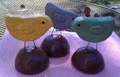Paper Mache Birds  Set of 3 by WendysMache on Etsy, $12.00