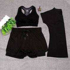 UMLIFE 3 Pieces Sport Suit Women Fitness Yoga Set T-shirt+Yoga Bra+Sport Shorts Women Gym Sport Wear Running Clothes Breathable