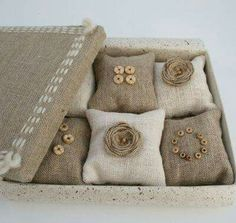 Scented Sachets Set 6 Boxed Khaki Beautiful handmade gift box with six… Lavender Crafts, Lavender Bags, Lavender Sachets, Sewing Crafts, Sewing Projects, Scented Sachets, Burlap Crafts, Fabric Scraps, Pin Cushions