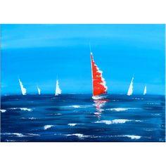Seascape, peinture marine.  Peint à la main par l'artiste Annie Roi. Dimensions 70x50cm.