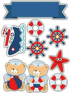 Baby Shower Marinero, Baby Shower Oso, Imprimibles Baby Shower, Sailor Baby, Fondant Cupcake Toppers, Baby Shawer, Nautical Party, Baby Scrapbook, Baby Birthday