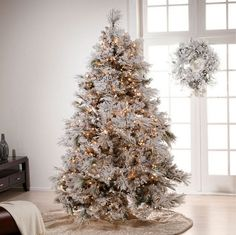 Merry Christmas of White Gold Christmas Tree Decoration Listed In Simple Neutral White Christmas Decorations White Christmas Tree Decorations, Frosted Christmas Tree, Flocked Christmas Trees, Beautiful Christmas Trees, Noel Christmas, Winter Christmas, Elegant Christmas, Gold Decorations, Fall Winter
