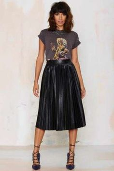 Loving the metal t-shirt with the flouncy skirt.