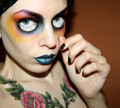 Lady zombie eyes makeup and more somewhat modest women's Halloween costume ideas.