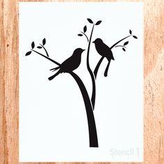 """Vaizdo rezultatas pagal užklausą """"tree and birds stencil"""" Bird Stencil, Heart Stencil, Stencil Art, Damask Stencil, Stencil Patterns, Stencil Designs, Bird Template, Manualidades Halloween, Bird Silhouette"""