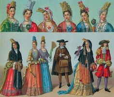 French, 17th Century clothing and head pieces.