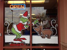 Christmas Window Painting Ideas by William Sanders Painted Window Art, Painting On Glass Windows, Window Paint, Grinch Christmas, Christmas Wood, Christmas Crafts, Xmas, Christmas Stuff, Christmas Window Decorations