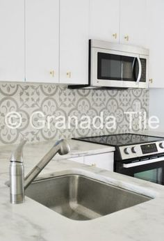 Kitchen and Backsplash Tile Photos - Cement and Concrete Backsplash and Kitchen Tiles.  Normandy from Granada Tile.  They have a tool  that allows you to see your custom color selection.  COOL!