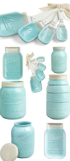 Ceramic mason jar kitchenware and baking set - Love these powder blue measuring cups, spoons, cookie jar, kitchen utensil holder, and spoon rest!