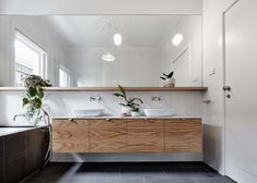 Dream Houses: Floating Wooden Vanity In A Contemporary Bathroom In White - This Kid-Friendly Family House Welcomes You with Bright, Open Spaces. Family Bathroom, Laundry In Bathroom, Bathroom Renos, Bathroom Mirrors, Simple Bathroom, Washroom, Bad Inspiration, Bathroom Inspiration, Diy Interior