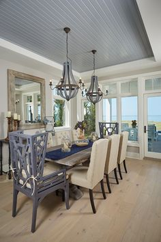 Best Ceiling Paint Color Ideas and How to Choose It : Benjamin Moore 1599 Marina Gray. Dining Bead Board Ceiling paint color is Benjamin Moore 1599 Marina Gray. Lake House Dining, Lake House Dining Room, Luxury Dining, Dining Room Ceiling, Dining Room Design, Dining Room Paint Colors, Luxury Dining Room, Ceiling Paint Colors, Home Decor