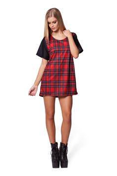 Tartan Red Boyfriend Tee by Black Milk Clothing