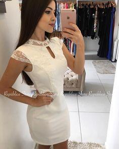 Vestidos Off White, Dress Sketches, Frocks, Ideias Fashion, White Dress, Glamour, Womens Fashion, Casual, Outfits