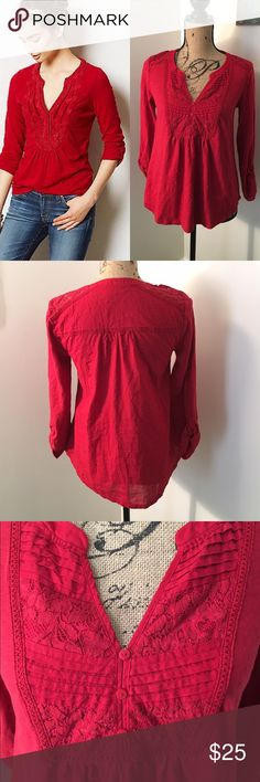 """🍂NWOT Meadow Rue Red Antonia Blouse NWOT, never worn! 🍂 size S, 23"""" long, 17.5"""" across bust🍂 cotton, Lace detailing on front and shoulder Anthropologie Tops Blouses"""