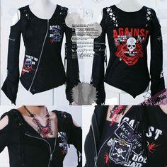 Womens Black Cyber Goth Punk Rock Clothing Skull Sweater Jacket SKU-11411008