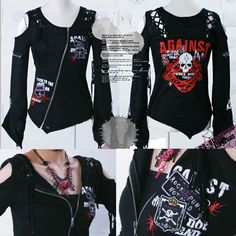 Womens Black Cyber Goth Punk Rock Clothing Skull Sweater Jacket SKU-11411008