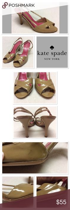 Kate Spade nude patent peep toe pumps size 6M Adorable dark nude/tan Kate Spade patent leather peep toe slingbacks size 6M. They are pre loved in good shape. There is minimal scuffing. See photos. kate spade Shoes Heels