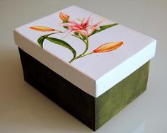 Decoupage Glass, Decoupage Box, Painted Wooden Boxes, Hand Painted, Diy And Crafts, Paper Crafts, Diy Cardboard, Altered Boxes, Diy Painting