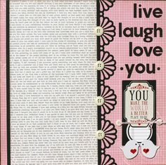 Premade Scrapbook Page 12 x 12 Love Layout  Live by designstudioL, $10.49