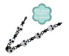 Bead Pattern: Skull Bracelet by ThreadABead on Etsy