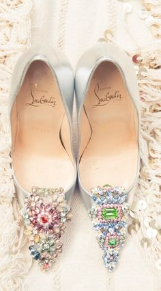 Christian Louboutin ~ Crystal Embellished Silver  Pumps 2015