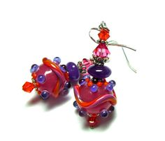 Saturn Earrings Lampwork Earrings Handmade by SeeMyJewelry on Etsy