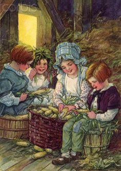 Shucking corn -- by Clara M Burd (American, 1873–1933)