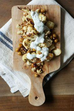 Roasted Cauliflower with Greek Yogurt Sauce