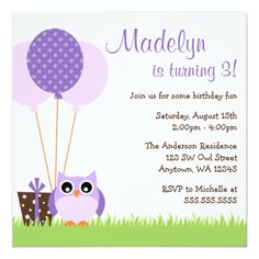 Girl's 1st Birthday Party Invitations Cute Purple Owl Balloons Birthday Invitations