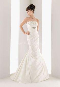 Ruching Mermaid Sleeveless Floor-length With Brooch Dropped Waist Wedding Dress