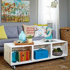 Increase the storage capacity of your coffee table by revamping old wooden crates. Six crates built onto MDF create a simple yet sturdy coffee table in no time. Give the entire display a distressed finish with semigloss paint before finishing with industrial casters.